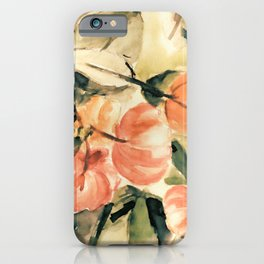 Watercolor Pitangas - Fruits in coral, light yellow and green iPhone Case