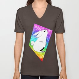 Bunny looking up at the sky Unisex V-Neck