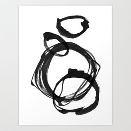 Black Ink Geometric Abstract Painting Rings 3 Art Print