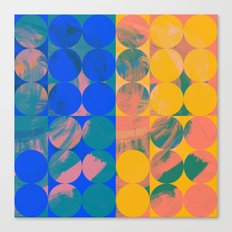 Pop Art Pattern Abstract in Yellow and Blue Canvas Print