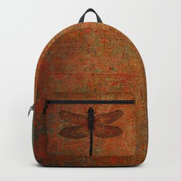 Dragonfly On Orange and Green Background Backpack