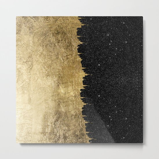 Faux Gold & Black Starry Night Brushstrokes Metal Print