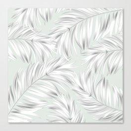 Palm Tree Fronds White on Seafoam Hawaii Tropical Décor Canvas Print