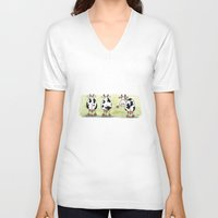 cows V-neck T-shirts featuring Three cows by Tali Shemes