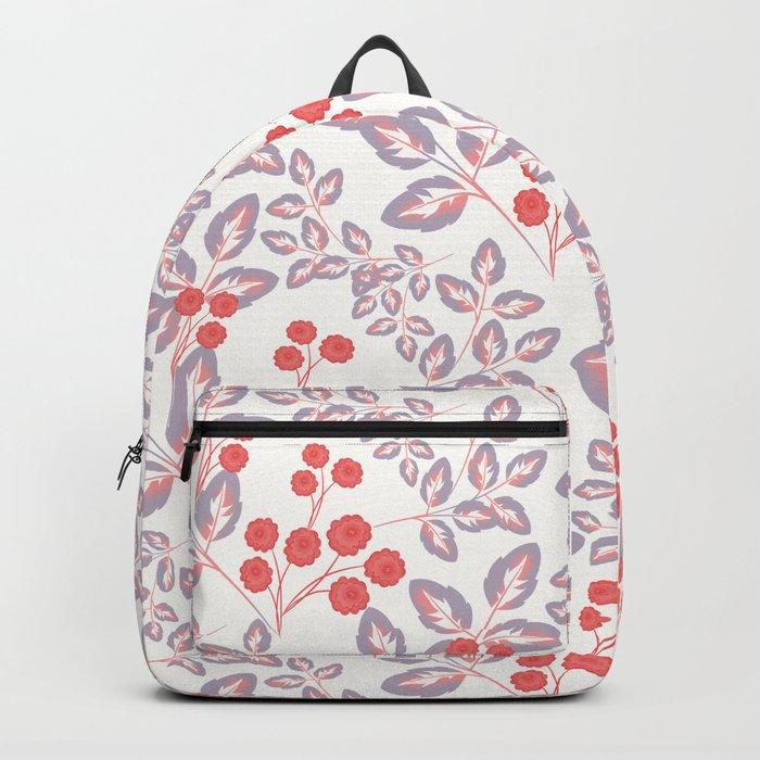 Delicate sprigs, red - orange flowers. Backpack
