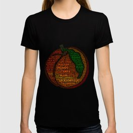 Peach Fruit illustrated with cities of Florida State USA T-shirt