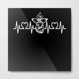 Heartbeat Pulse Frequency EKG Chicken Metal Print