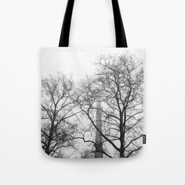 Branches and Smokestack Against a Foggy Sky Tote Bag