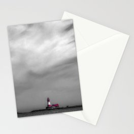 Red lighthouse on a cloudy day Stationery Cards
