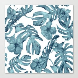 Teal Blue Tropical Palm Leaves Flowers Canvas Print