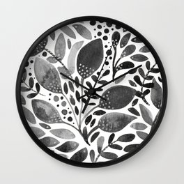 Watercolor leaves - black and white Wall Clock
