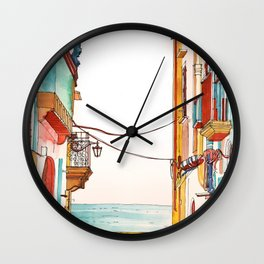 Coloring book Southern Europe Cities: Otranto colored Wall Clock