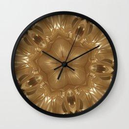 Elegant Gold Brown Shimmering Star Wall Clock