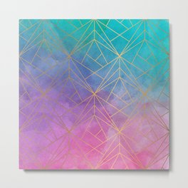 Watercolor Geometric Gold Pattern Art Metal Print