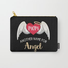 Mom, Another Name For Angel - Trendy Tattoo Heart Wings Carry-All Pouch