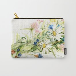 Bouquet of Wildflowers Original Colored Pencil Drawing Carry-All Pouch