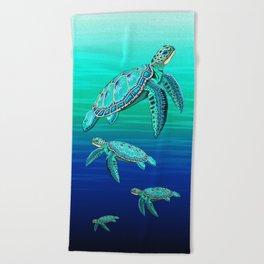 Sea Turtle Turquoise Oceanlife Beach Towel