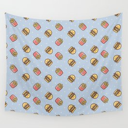 Cute pink brown blue funny fries burger food triangles pattern Wall Tapestry
