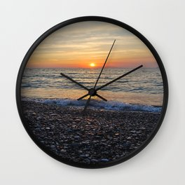 Sunset and Stones Wall Clock