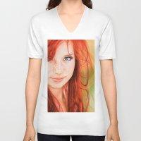 redhead V-neck T-shirts featuring Redhead Girl by Samuel Silva