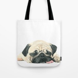 Nap Pug, Dog illustration original painting print Tote Bag