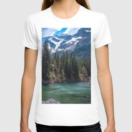 Snowy Mountain Landscape, Trees and Lake T-shirt