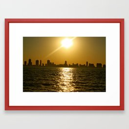 Chicago at Sunset Framed Art Print