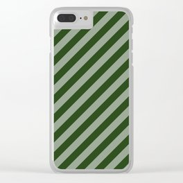 Large Dark Forest Green Candy Cane Stripes Clear iPhone Case