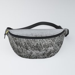 Moody forest in the Fog - Black and White Landscape Photography Fanny Pack