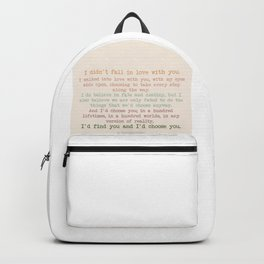 I'd choose you 3 #quotes #love #minimalism Backpack