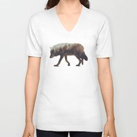 andreas preis V-neck T-shirts featuring Norwegian Woods: The Wolf by Andreas Lie
