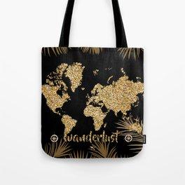 world map gold black Tote Bag