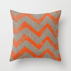 Orange chevron on linen Throw Pillow