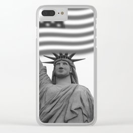 Black and White Statue of Liberty - Liberty Island Clear iPhone Case