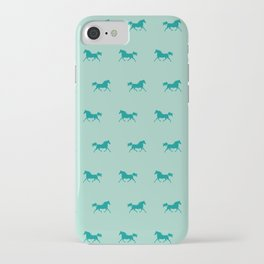 Trotting Arabian Horse Teal Green Horse Lover iPhone Case
