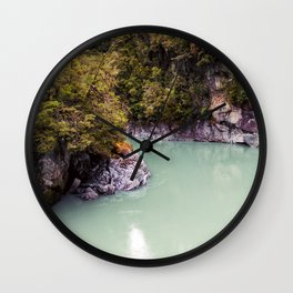 george river new zealand blue lake reflection on water Wall Clock