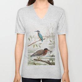 Birds, Kingfisher, Vincent Brun Hannay watercolor Unisex V-Neck