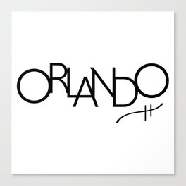 Orlando - Compressed City Beautiful - Word Art Canvas Print