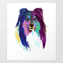 Colored Rough Collie Dog Art Print