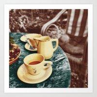 Coffee in the Garden Art Print