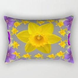 SPRING PURPLE  FLOWERS DAFFODIL ART DESIGN Rectangular Pillow