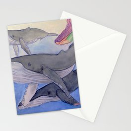 Humpback whales swim with mermaids Stationery Cards