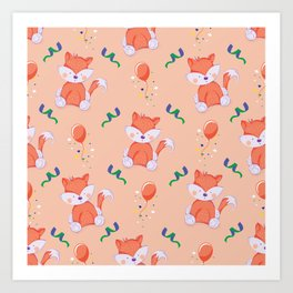 Happy Birthday Orange Fox on Orange Background Pattern Art Print