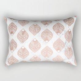 Modern rose gold leaf mandala pattern white marble Rectangular Pillow