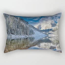 Winter Season at Maroon Bells Colorado Panorama Rectangular Pillow