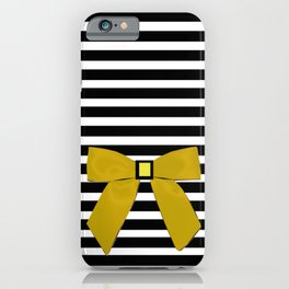 Yellow Bow + Black And White Stripe iPhone Case