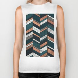 Abstract Chevron Pattern - Copper, Marble, and Blue Concrete Biker Tank