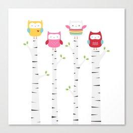 Treetop Owls Canvas Print
