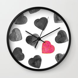 One heart in a million black and pink Wall Clock