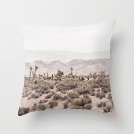 Sierra Nevada Mojave // Desert Landscape Blush Cactus Mountain Range Las Vegas Photography Throw Pillow